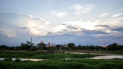 Scenery of sugar factory moment was going to sunset, Sugar Factory Sam Chuk - stock footage