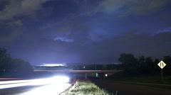 Parish Productions - Night Time lapse Highway lightning - stock footage