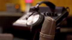 Studio microphone and headphone close - stock footage