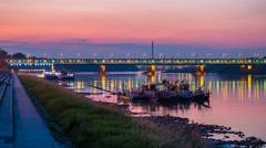 Warsaw Gdanski Bridge Vistula Boulevard Timelapse Warszawa Most Gdański Stock Footage