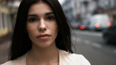 Close up portrait of sensual young beautiful brunette woman, with long hair Stock Footage