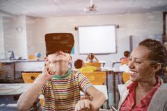 Sphere of skills against child using 3d glasses Stock Photos