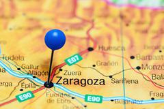 Zaragoza pinned on a map of Spain Stock Photos