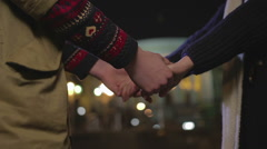 Couple in love holding hands before goodbye, breaking up, heartbreak story Stock Footage