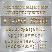 Vector gold coated alphabet letters, digits and punctuation on silver background - stock illustration
