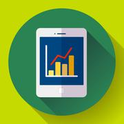 Tablet flat 2.0 icon in ipad style with stat diagram. Stock Illustration