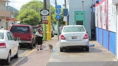 Puerto rico street7 lady and dog Stock Footage
