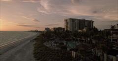 Aerial Of Beach At Sunset In Lido Key Sarasota Florida Stock Footage