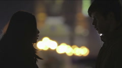 Girl making confession to boyfriend, couple breaking up, serious conversation Stock Footage