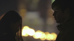 First timid kiss of teenage couple at romantic date, happy love story beginning Stock Footage