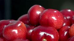 Cherry basket / Sweet cherry background Stock Footage