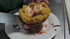 Puerto rico musafa restaurant food closeup2 Stock Footage