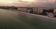 Aerial Of Beach At Sunset In Lido Key Sarasota Florida Stock Footage