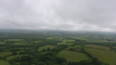 Aerial overlooking East Sussex countryside Stock Footage