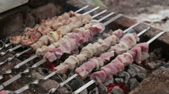 Shish kebab cooking Stock Footage