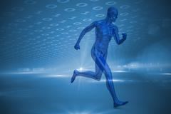 Blue character running against technical background with binary code Stock Illustration