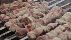 Barbecue grliling shish kebab Stock Footage