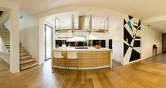 Airy and bright space for modern cooking and living - stock photo