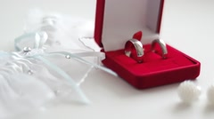 Wedding rings in a red box with earrings and garter - stock footage