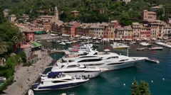 View Of Portofino With Luxury Boats Yachts In Port Harbor Stock Footage