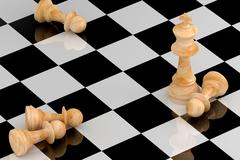 Achievement Concept in Business, Chess 3D Rendering - stock illustration