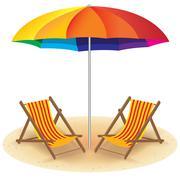 Beach Umbrella and Chair. Seashore with Beach Umbrella and Chair. Stock Illustration