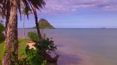 Island Aerial Drone Chinaman's Hat with Palm Trees Stock Footage