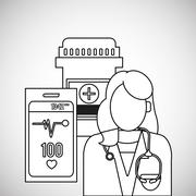 Medical care design. Health care icon. Colorfull illustration, v - stock illustration