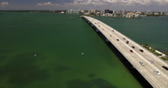 Aerial Of Builings & Bridge In Lido Key Sarasota Florida Stock Footage
