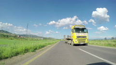 Truck, lorry overtaking on rural road, pov, point of view Stock Footage