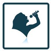Karaoke womans silhouette icon - stock illustration