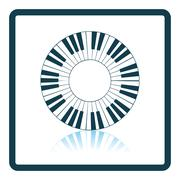 Piano circle keyboard icon - stock illustration