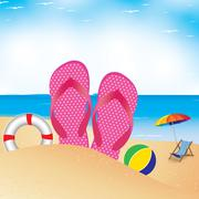 Beach umbrella with chair on the beach. Slipper and football in sand. - stock illustration