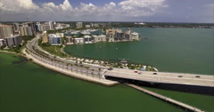 Aerial Of Builings On & Bridge Lido Key Sarasota Florida Stock Footage