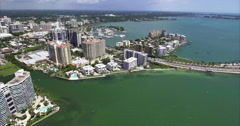 Aerial Of Builings & Bridge On Coast In Lido Key Sarasota Florida Stock Footage