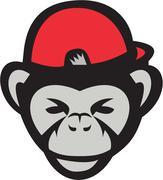 Chimpanzee Head Baseball Cap Retro - stock illustration
