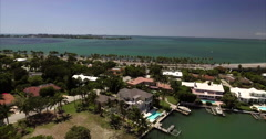 Aerial Of Homes On Coast In Lido Key Sarasota Florida Stock Footage