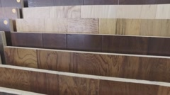 Hardwood Flooring Samples On Display At Flooring Store - stock footage
