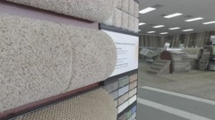 Carpet Sample Display At Flooring Store Stock Footage