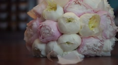 Wedding bouquet of peonies Stock Footage