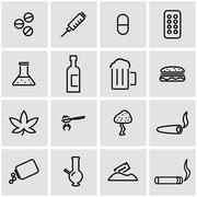 Vector line drugs icon set - stock illustration
