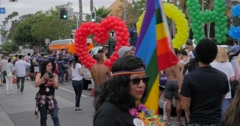 West Hollywood Gay Pride Parade 2016, rainbow colors - stock footage
