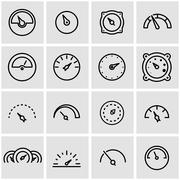 Vector line meter icon set - stock illustration