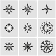 Vector line wind rose icon set Stock Illustration