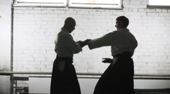 Martial arts Master in black hakama Stock Footage