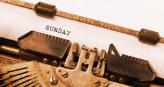 Sunday typography on a vintage typewriter Stock Photos