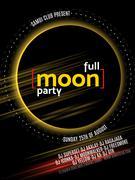 Full Moon Beach Party Flyer. Vector Design EPS 10 - stock illustration