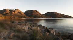 A view of coles bay in tasmania at sunset Stock Footage