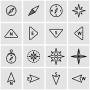 Vector line compass icon set Stock Illustration