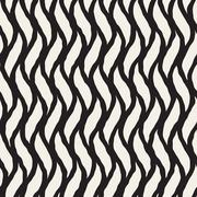 Vector Seamless Hand Drawn Vertical Wavy Lines Pattern Stock Illustration